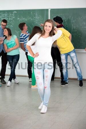 Deux écolières compagne parler tableau fille Photo stock © zurijeta