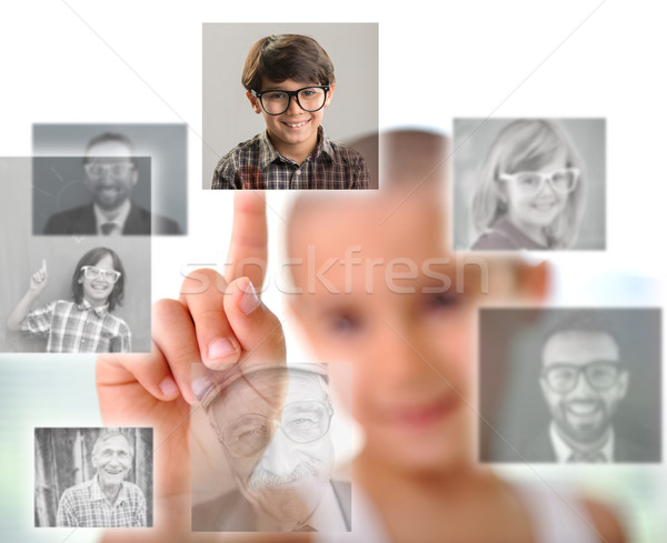 Kid pressing digital button with people faces Stock photo © zurijeta