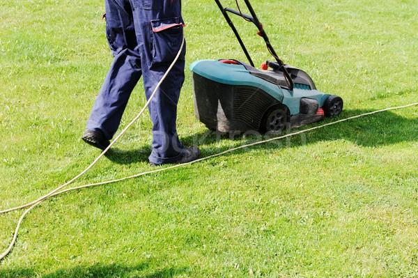 Man moves with lawnmower & mows green grass Stock photo © zurijeta