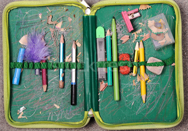 Open old pencil box with clipping path included Stock photo © zurijeta