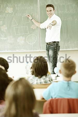 Punishing children in classroom, angry teacher and kid in corner Stock photo © zurijeta