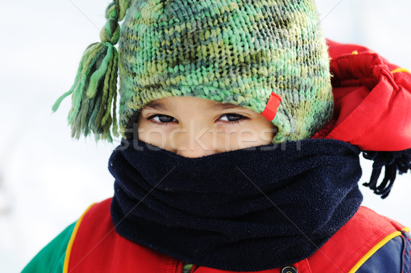 Gyerek hó mosoly szemek egészség tél Stock fotó © zurijeta
