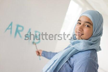 Arabic Muslim woman with copy space chart for presentation Stock photo © zurijeta