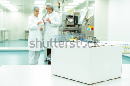 White box at automated production line at modern factory - ready for your logo Stock photo © zurijeta