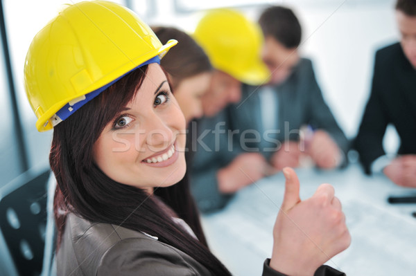 Business people in office, girl with thumbs up Stock photo © zurijeta