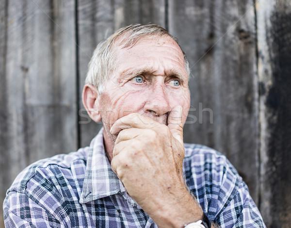 Foto d'archivio: Disperato · senior · uomo · sofferenza · faccia · mani