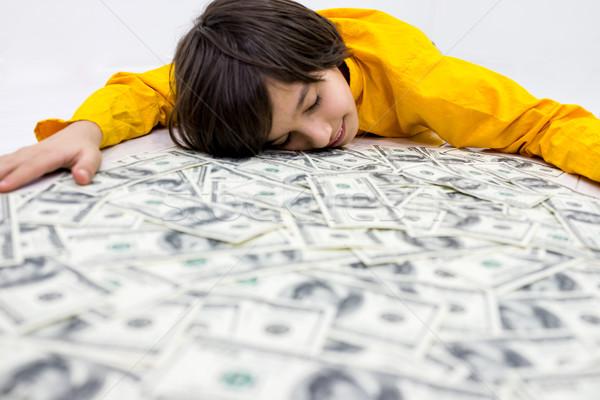Dollar jongen dollar kid kind leuk Stockfoto © zurijeta