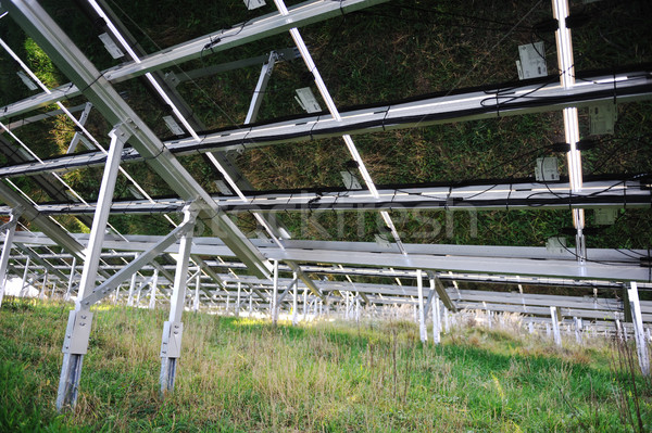 Alternative energy photovoltaic solar panels from back Stock photo © zurijeta