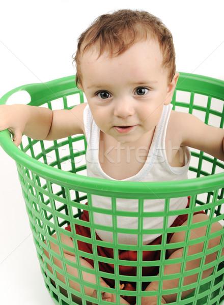 Bebé nino plástico cuadro nino blanco Foto stock © zurijeta