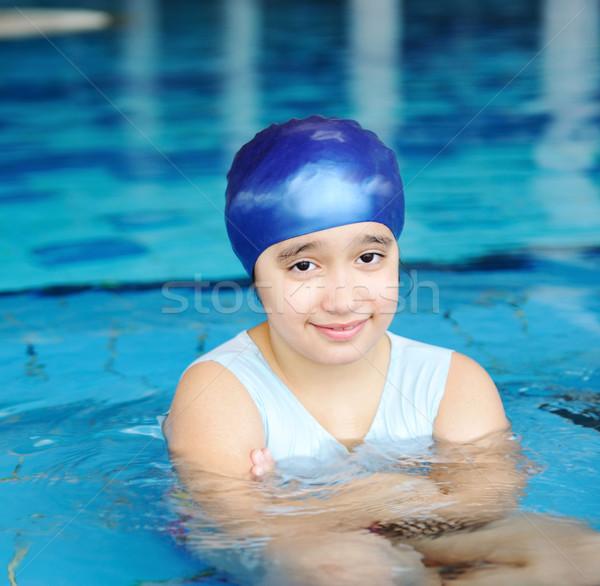 Stock fotó: Kicsi · aranyos · lány · kék · víz · úszómedence