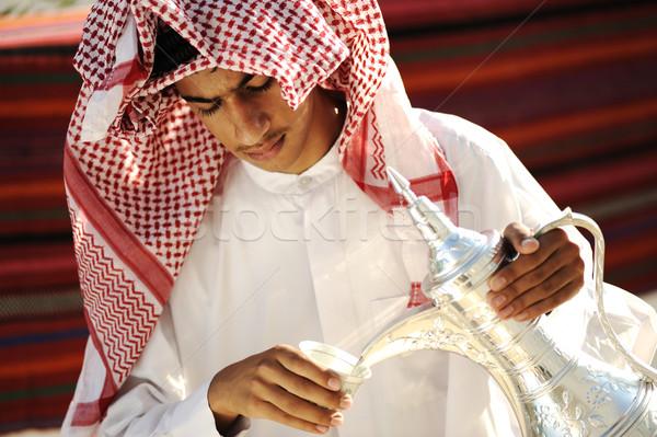 アラビア語 若い男 顔 幸せ 肖像 茶 ストックフォト © zurijeta