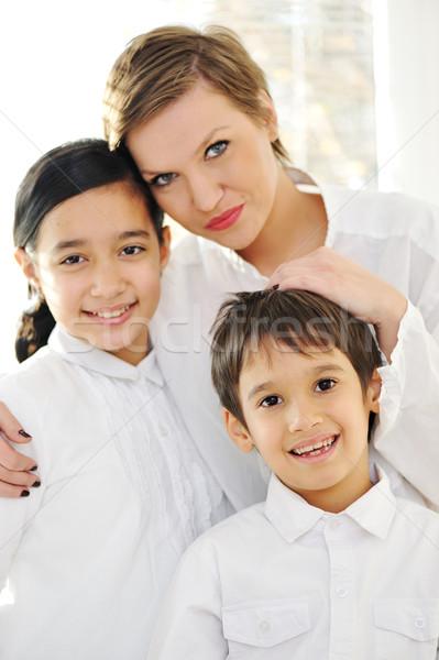 Portre mutlu anne kız oğul ev Stok fotoğraf © zurijeta