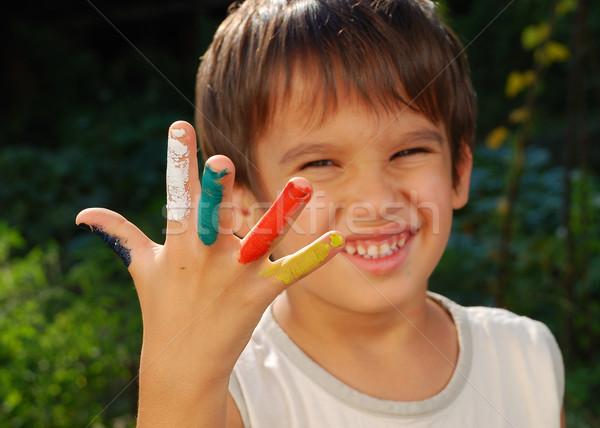 Colores ninos dedos aire libre manos Foto stock © zurijeta
