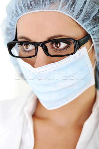 Közelkép sürgős medikus szem női orvos Stock fotó © zurijeta