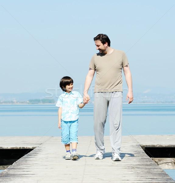 Pai criança doca belo mar filho pai Foto stock © zurijeta