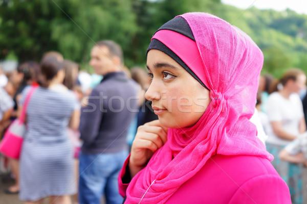 美しい 小さな ムスリム 少女 ヒジャーブ ファッション ストックフォト © zurijeta