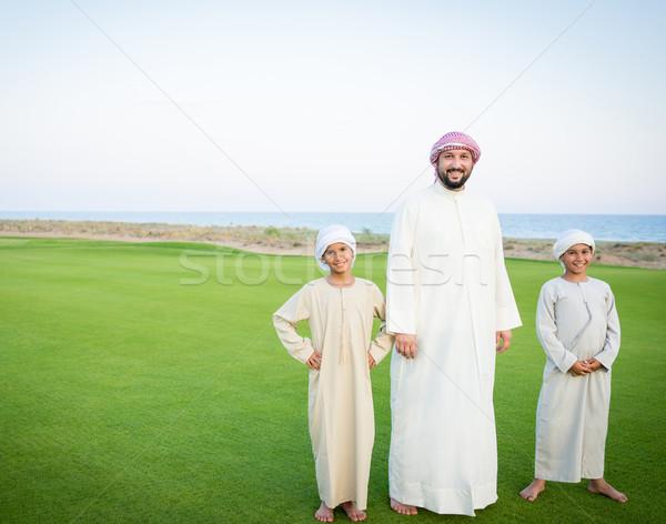 Happy Arabic family on summer vacation Stock photo © zurijeta