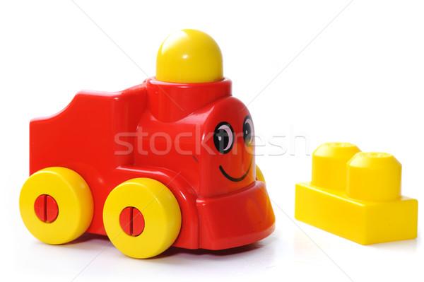 Speelgoed trein kind Blauw leuk snelheid Stockfoto © zurijeta