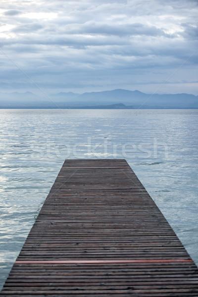 пешеходный мост сумерки пусто озеро воды природы Сток-фото © zurijeta