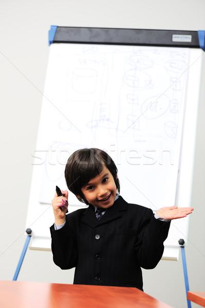 Genie Junge Präsentation Bildung Spaß Stock foto © zurijeta