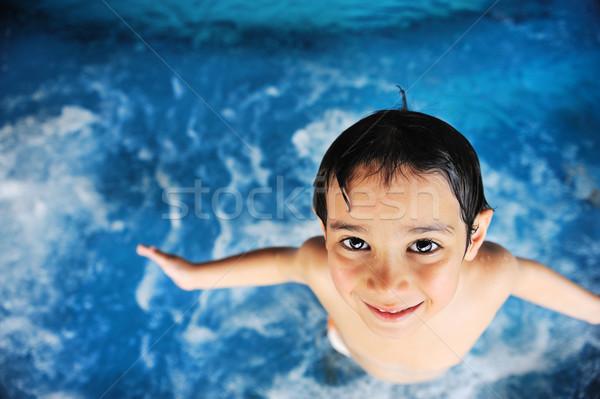 Stock foto: Sommerzeit · Schwimmen · Aktivitäten · glücklich · Kinder · Pool