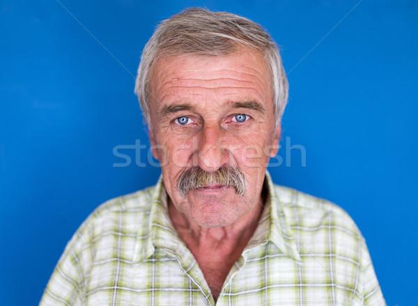 улыбаясь зрелый человек усы морщины пожилого красивый Сток-фото © zurijeta