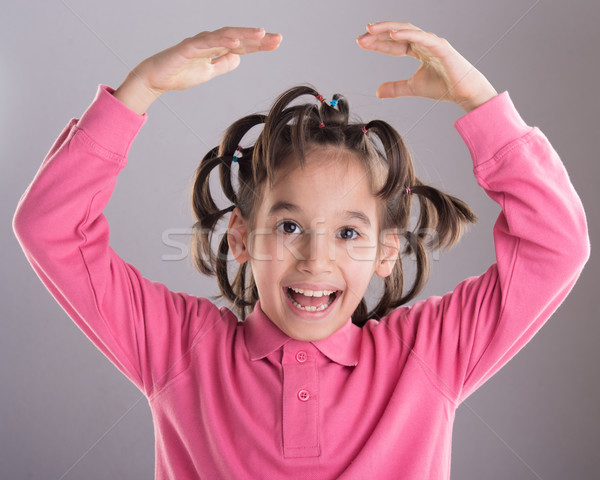 Portrait of funny cute little boy with awesome hairdo Stock photo © zurijeta