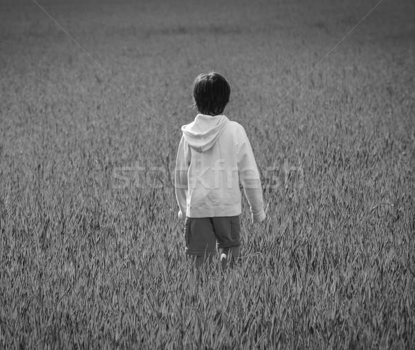 черно белые фото Kid красивой зеленый желтый Сток-фото © zurijeta