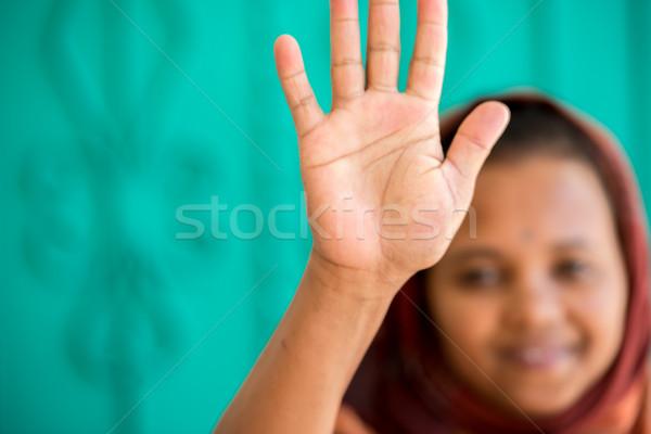 африканских мусульманских девушки женщину стороны улыбка Сток-фото © zurijeta