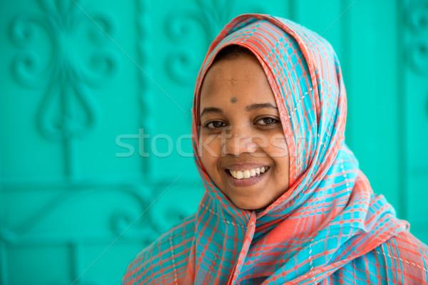 африканских мусульманских девушки женщину улыбка лице Сток-фото © zurijeta
