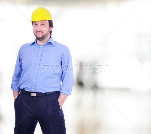 Jóvenes masculina ingeniero edificio hombre feliz Foto stock © zurijeta