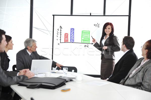 Iş toplantısı grup insanlar ofis tanıtım flipchart kadın Stok fotoğraf © zurijeta