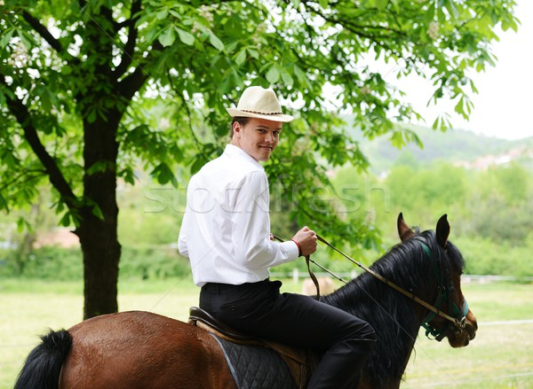 Young stylish man taking riding a horse on countryside Stock photo © zurijeta