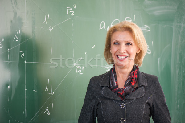 Profesör ayakta kara tahta kız Öğrenciler Stok fotoğraf © zurijeta