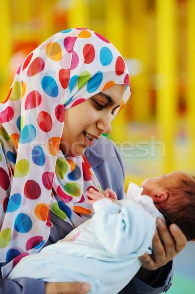 Arabisch moeder pasgeboren baby moslim moeder Stockfoto © zurijeta