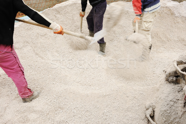 Working place, collecting sand for concrete Stock photo © zurijeta