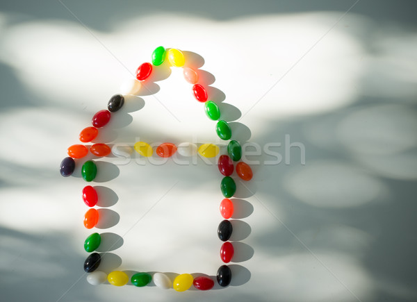 Colorful candy closeup house with roof Stock photo © zurijeta
