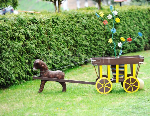 öreg fából készült játékok kutya természet terv Stock fotó © zurijeta
