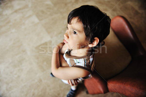 Angry boy indoor Stock photo © zurijeta