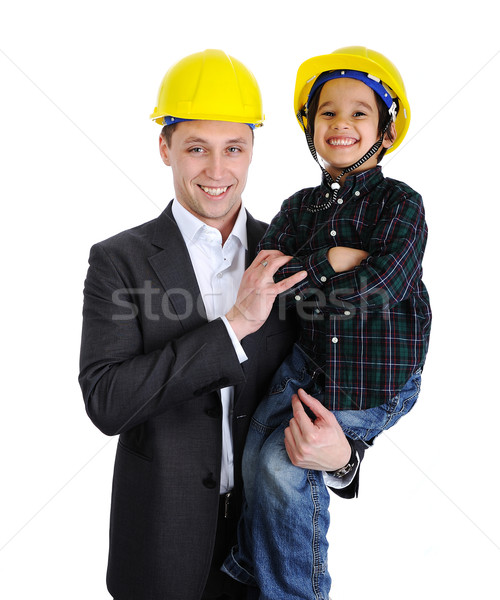 Father and son playing as architects Stock photo © zurijeta
