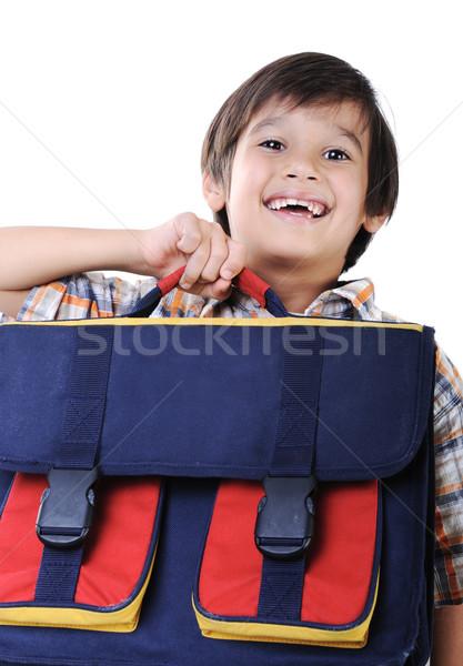 Backpack for school, in hands of kid Stock photo © zurijeta