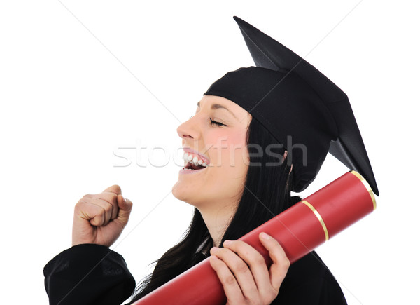 Student girl in an academic gown, graduating and diploma Stock photo © zurijeta