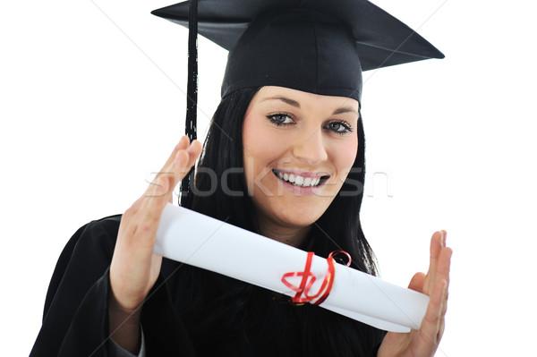 Diák lány tudományos talár diploma üzlet Stock fotó © zurijeta