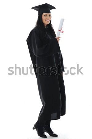 Afgestudeerde meisje student toga diploma business Stockfoto © zurijeta