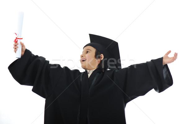 Diploma graduating little student kid, successful elementary school Stock photo © zurijeta