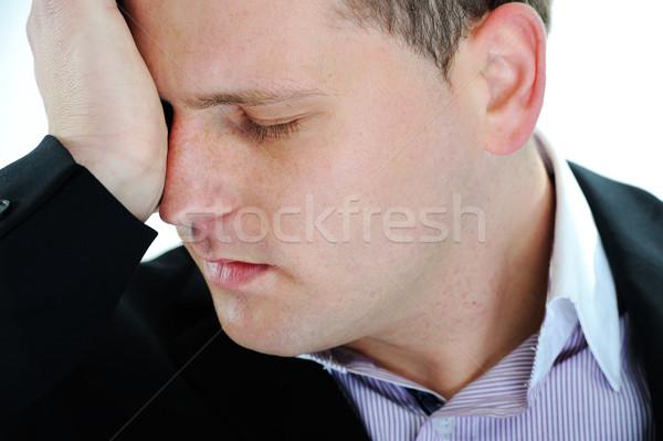 Mann Leiden Migräne Kopfschmerzen weißen Mannes weiß Stock foto © zurijeta
