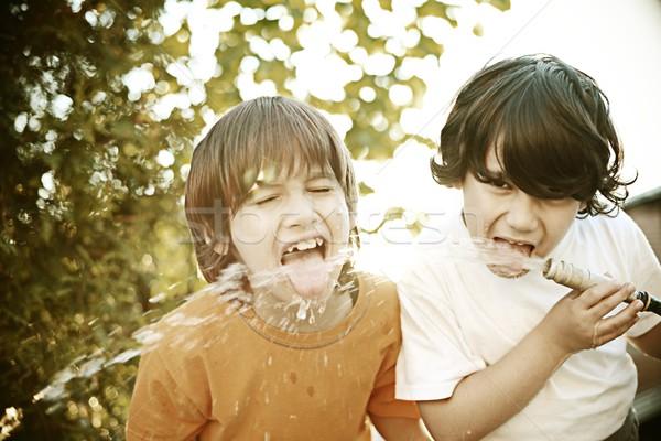 Filtered photo of happy children enjoying childhood Stock photo © zurijeta