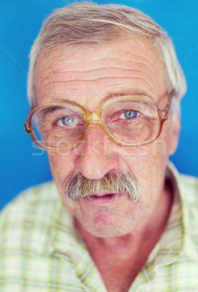 Souriant homme mûr moustache rides âgées bonne recherche Photo stock © zurijeta