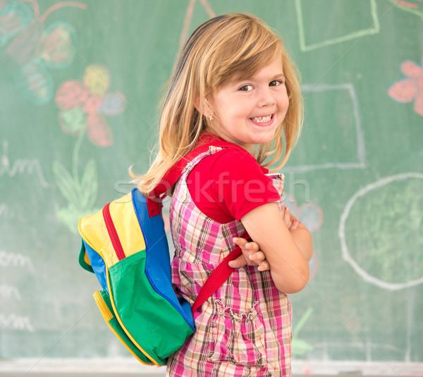 Stockfoto: Cute · weinig · school · blond · meisje · klas