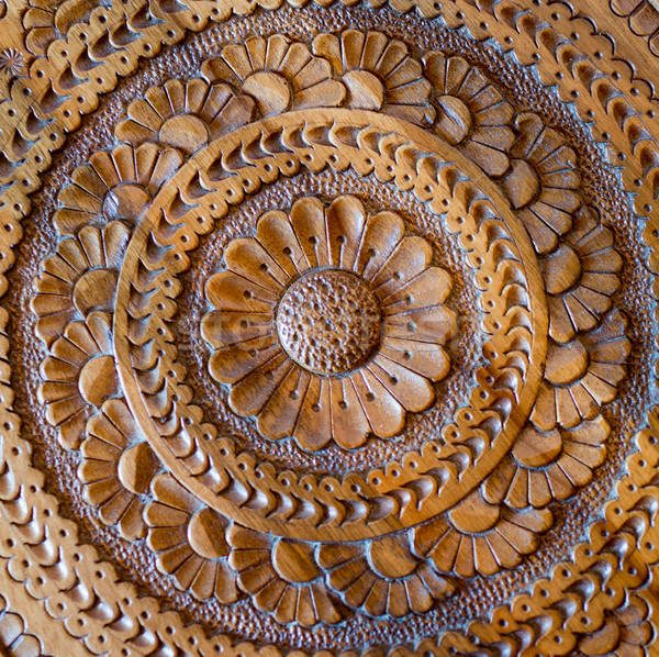 An artistic carved pattern in wood of an islamic arabic nature Stock photo © zurijeta
